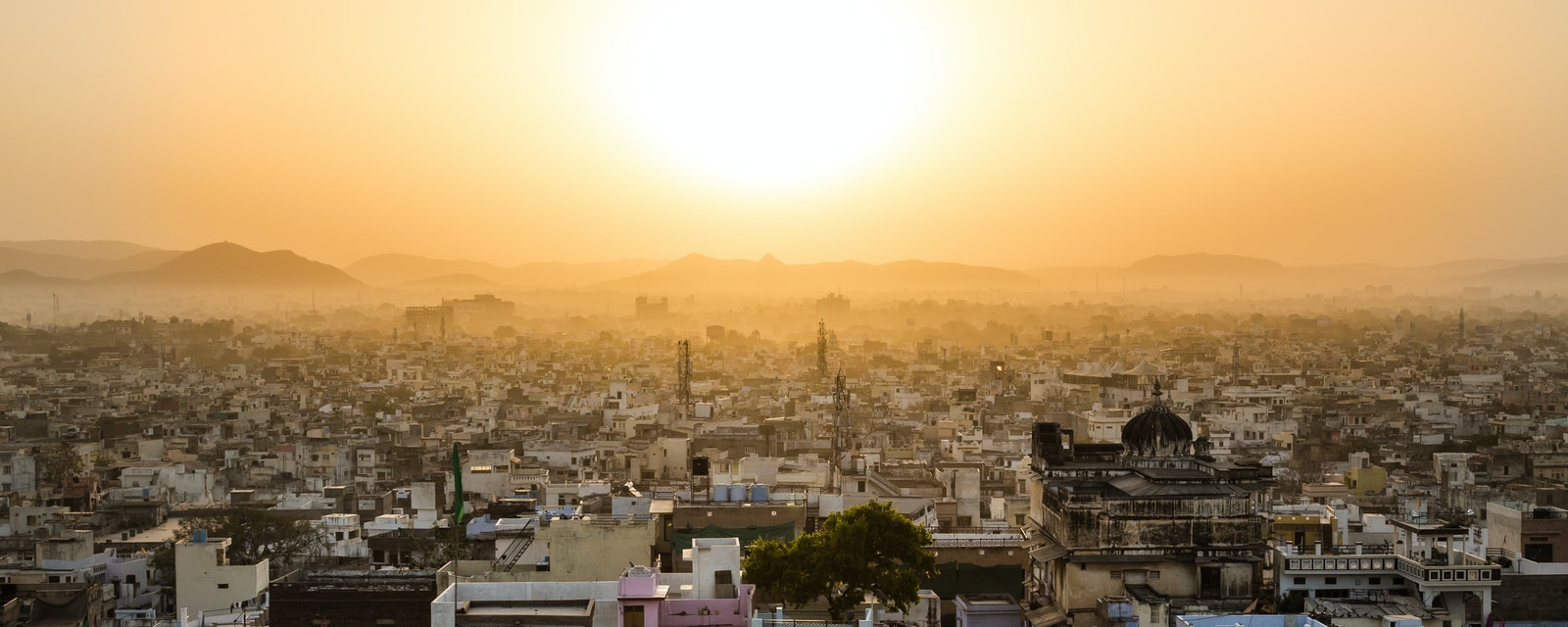 High view showing part of the Udaipur skyline at sunrise