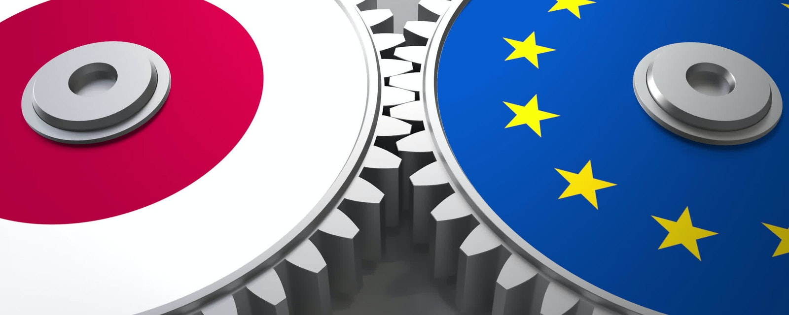 Flags of Japan and the European Union on meshing gears