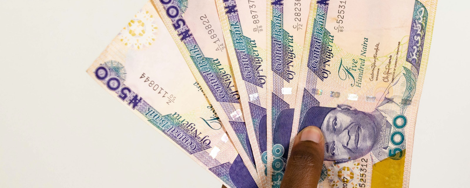 African hand holding Nigerian Naira notes spread