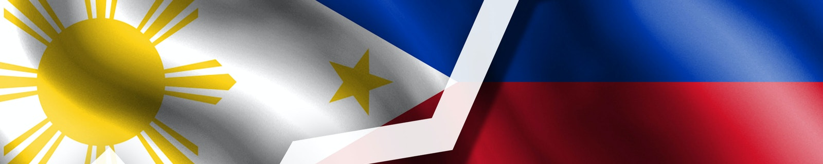 White arrow pointing up against the background of the flag of Philippines