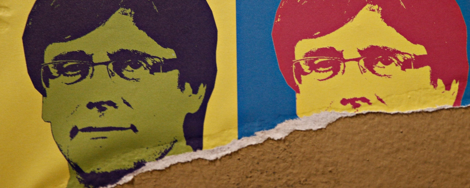 Poster of Catalonia's former president Carles Puigdemont in Barcelona
