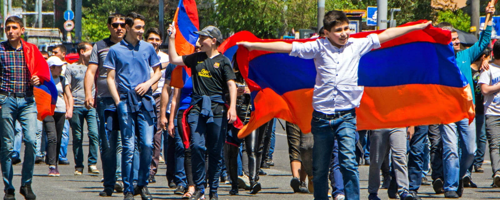 People protesting on the streets of Armenia