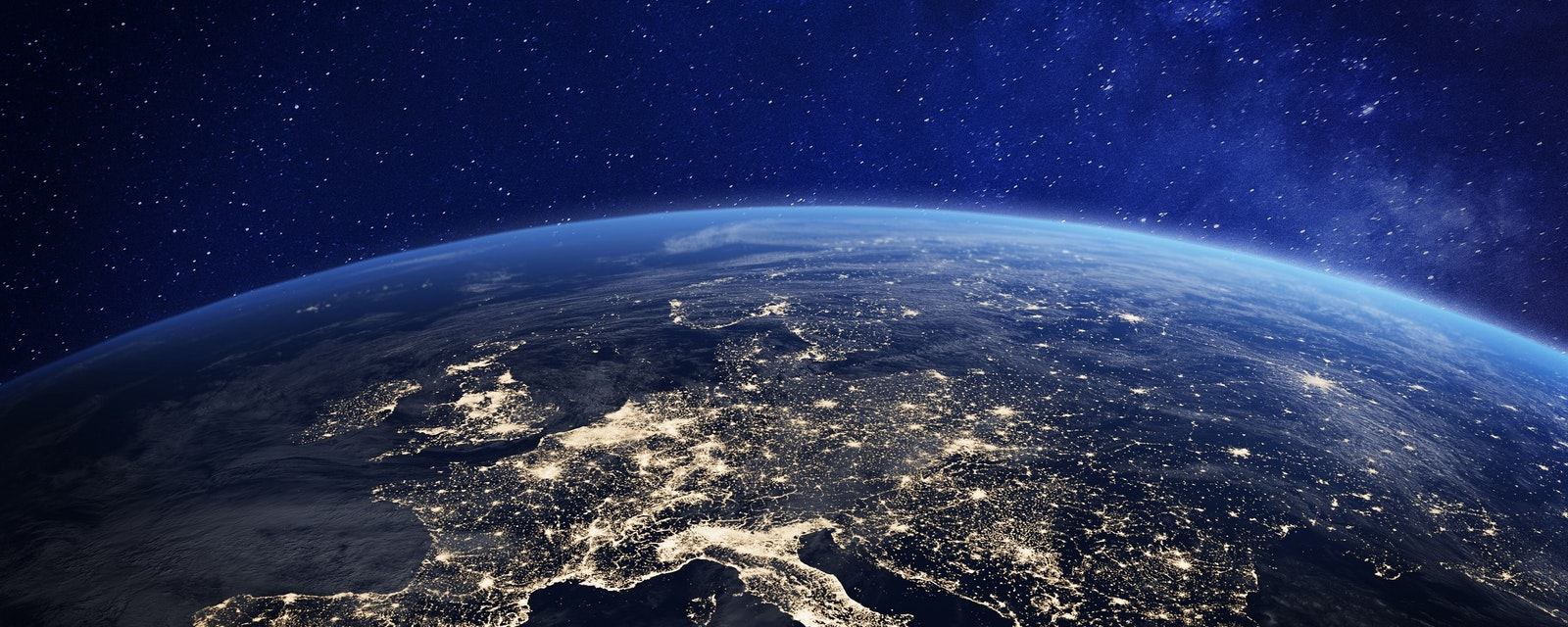 Europe,At,Night,Viewed,From,Space,With,City,Lights,Showing