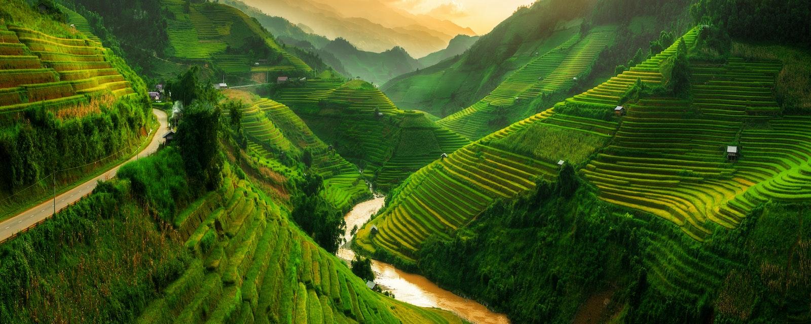 Mu,Cang,Chai,,Landscape,Terraced,Rice,Field,Near,Sapa,,North