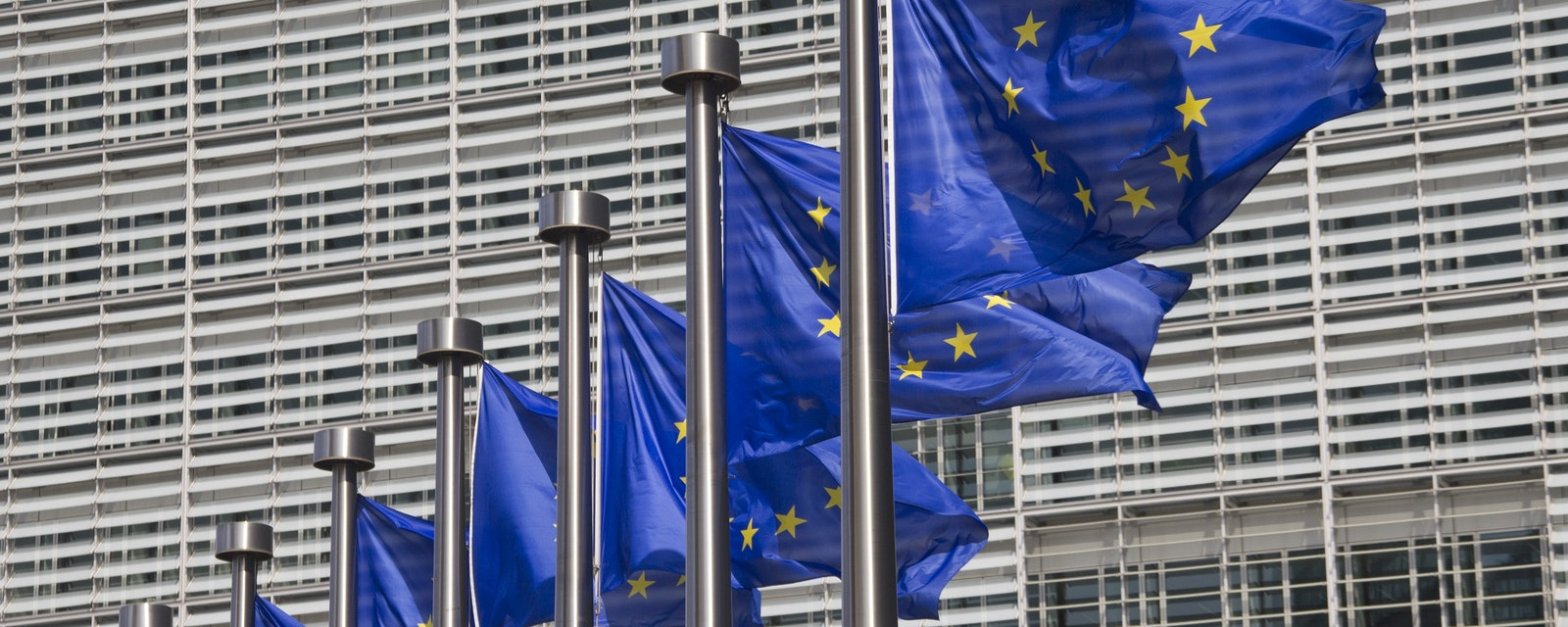 European,Union,Flags,In,Front,Of,The,Berlaymont,Building,In