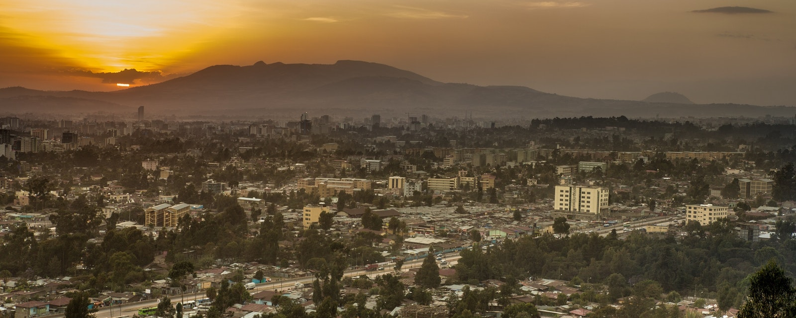 Aerial,View,Of,The,City,Of,Addis,Ababa,During,Sunset
