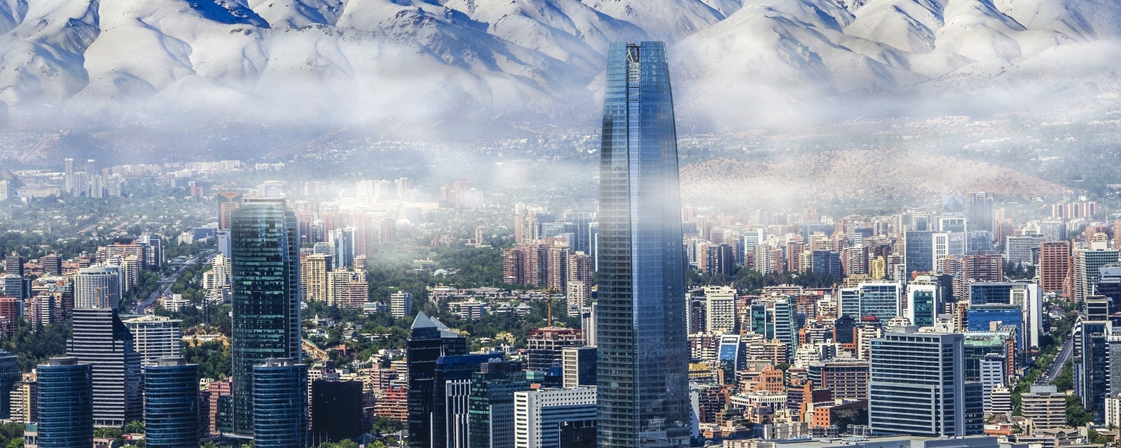 Aerial,View,On,Skyscrapers,Of,Financial,District,Of,Santiago,,Capital