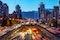 Tehran,iran,famous,Night,View,Of,Tehran,flow,Of,Traffic,Round,Tohid,Tunnel