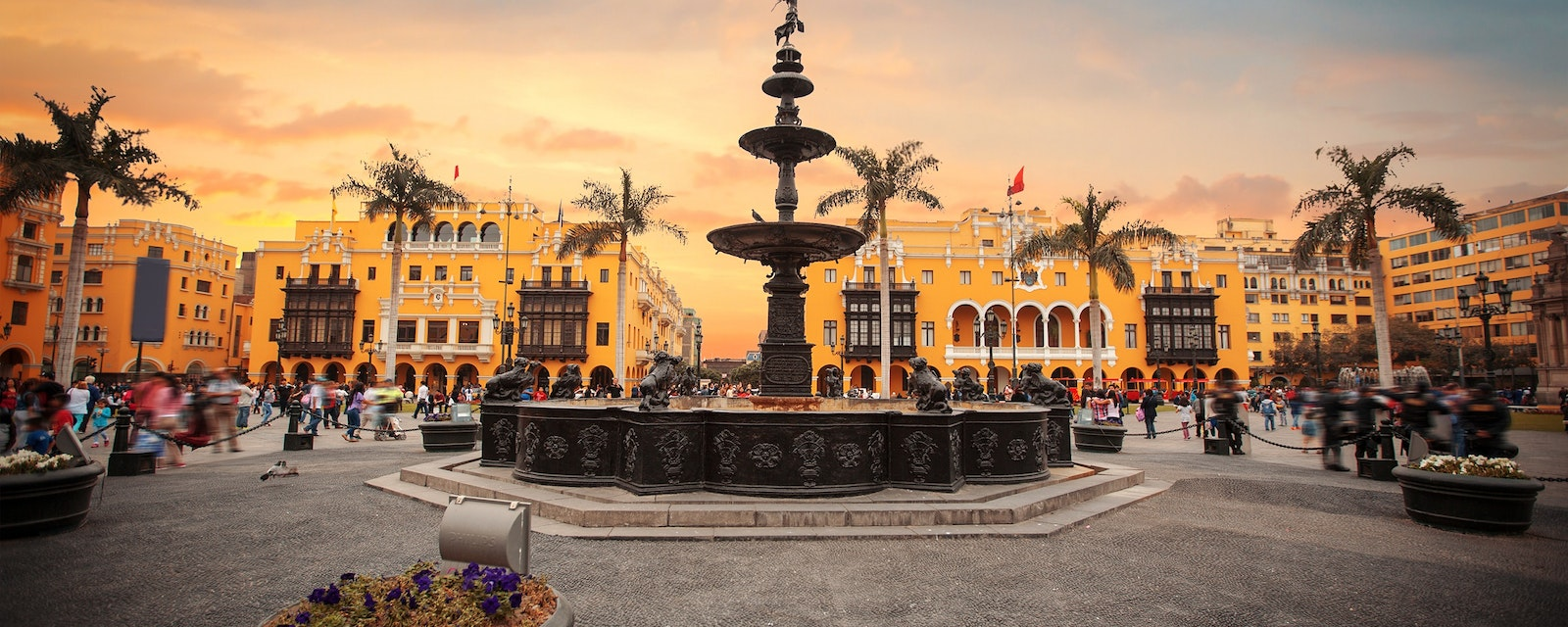 Panoramic,View,Of,Lima,Main,Square,And,Cathedral,Church.