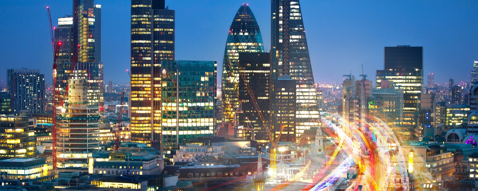 City,Of,London,View,At,Sunset,And,Busy,Road,With