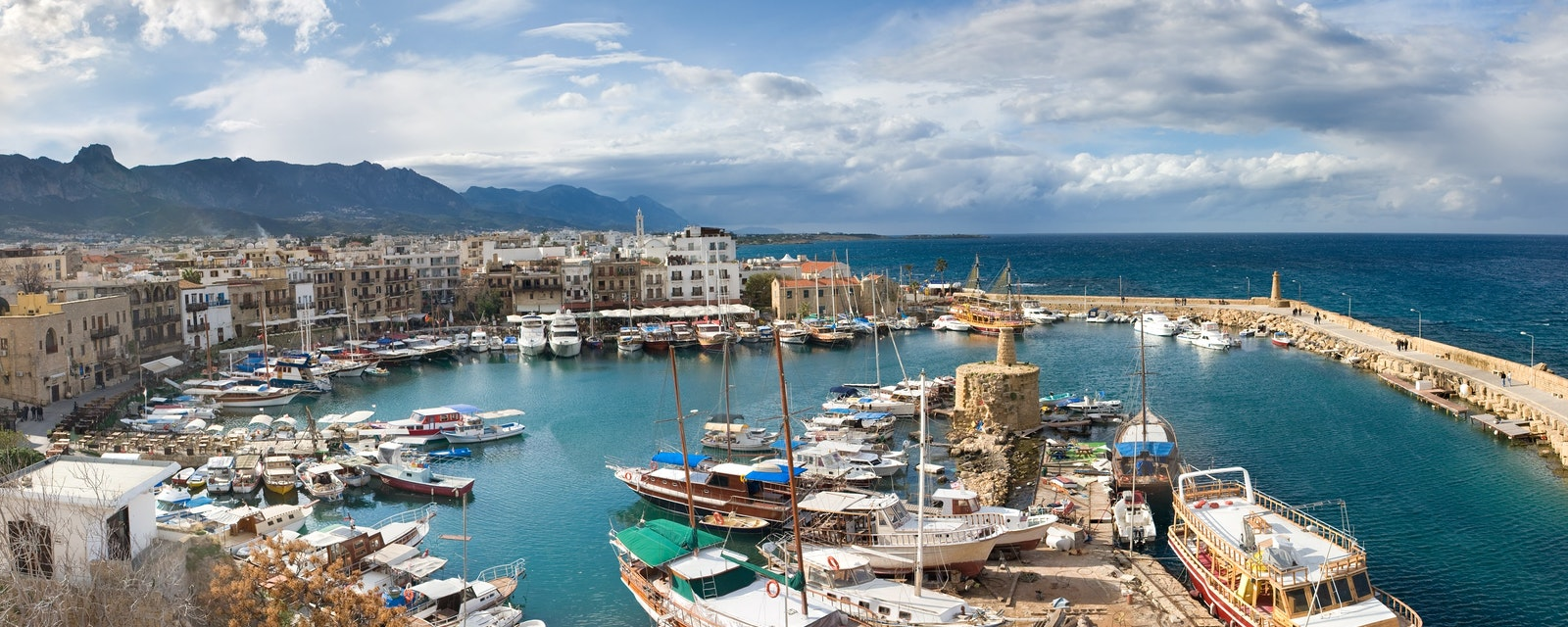 The,View,From,Girne,Castle,Harbour,,Northern,Cyprus.,Winter.