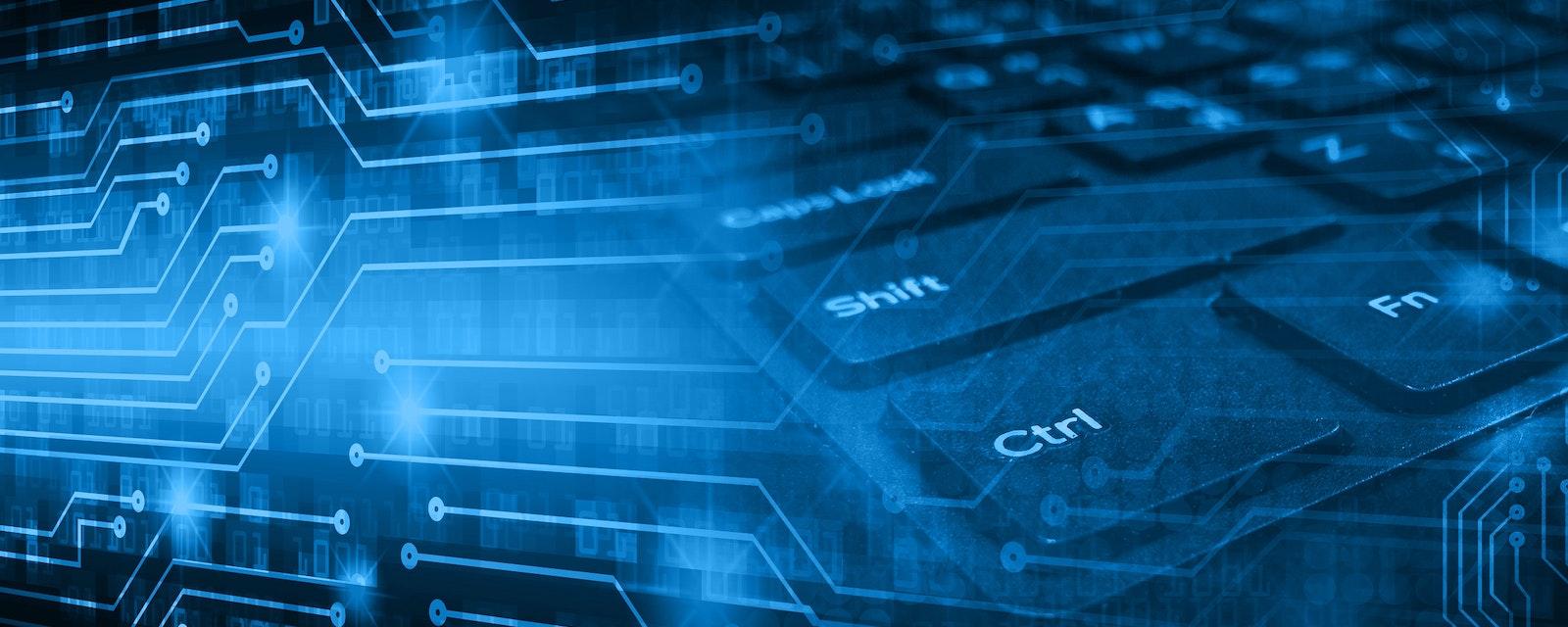 Dark,Blue,Illustration,Of,Technology,Internet,Network,Computer,Background,With