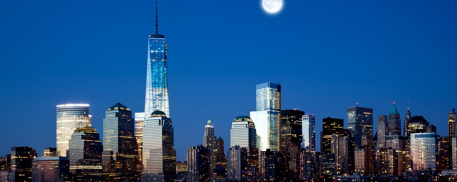 The,New,Freedom,Tower,And,Lower,Manhattan,Skyline,At,Night