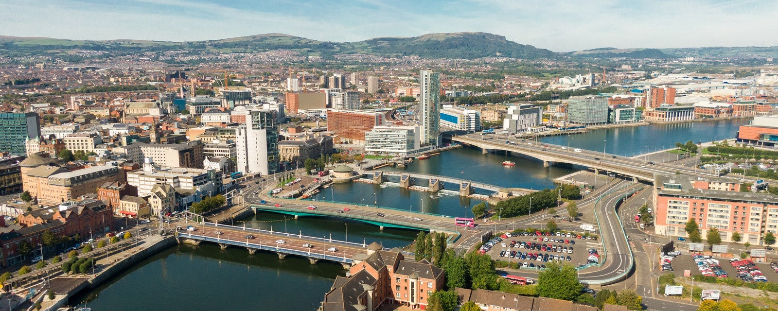 Aerial,View,On,River,And,Buildings,In,City,Center,Of
